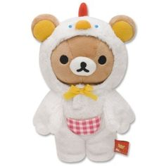 """brown plush bear dressed in a white chicken costume by San-X from Japan, , from the """"Rilakkuma Egg Kitchen"""" collection, costume can be taken off, Kawaii Plush, Cute Plush, Chicken Costumes, Modes4u, Beanie Boos, Kawaii Shop, Patch Kids, Plushies, Rilakkuma Plushie"""