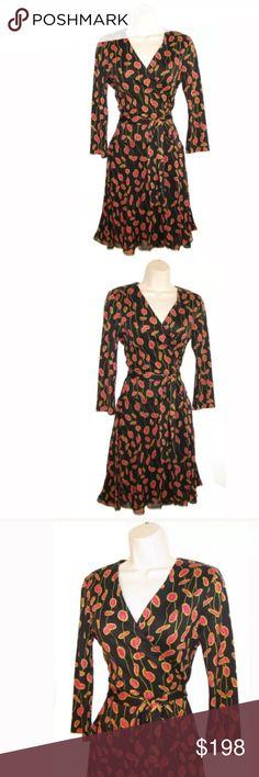 "🆕 DIANE von FURSTENBERG ~Irina ~Silk Wrap Dress 📌Item specifics  Collar /Neckline: Crossover V-neck Lining: Skirt lined Closure: Wrap style Care: Dry clean Additional Information: Self-tie belt, silk chiffon flared skirt 📌 Measurement.                            Bust width: 17 1/2"" Waist width x2: 14"" Whole length: 36""                                  🦋 Thank you for looking. Diane von Furstenberg Dresses"