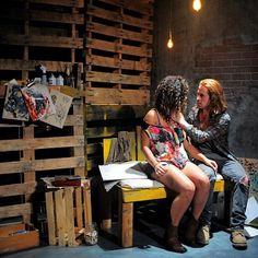 "Julissa Sabino (left) and Barrett Doyle in ""Scratching."""