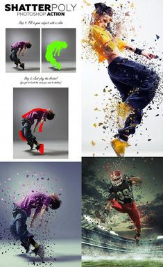 Buy ShatterPoly Photoshop Action by UnicDesign on GraphicRiver. ShatterPoly Photoshop Action Shatter the areas of your photo into polygonal parts and create stunning photo effects,. Photoshop Video, Effects Photoshop, Creative Photoshop, Photoshop Design, Photoshop Tutorial, Photoshop Actions, Photoshop Images, Web Design, Graphic Design Tutorials