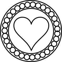 Free Round Heart Motif Digital Stamps