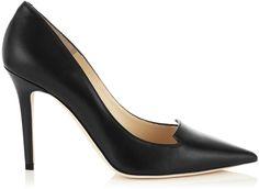Jimmy Choo Avril Black Shiny Calf Leather Pointy Toe Pumps on shopstyle.co.uk