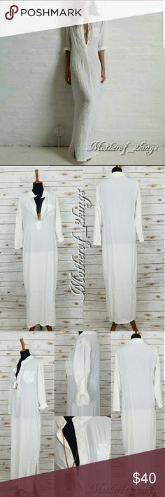 """🎀 IVORY BEACH LOUNGER DRESS IVORY BEACH LOUNGER DRESS is PERFECT to lounge by the pool, wear to the Beach or just wear with a pair of Metallic Sandals!  This even looks great as a Cover-up!  Quite versatile!  Stay beautifully cool this Summer! 🏖  Rayon Blend    👙  53.5"""" Long  (S) Bust:  40"""", Waist: 36"""", Hips: 42""""; (M) Bust: 41"""", Waist:  38"""", Hips: 42"""", (L) Bust: 42"""", Waist:  38, Hips:  44"""" (XL) Bust:  42.5"""", Waist:  38"""",  Hips:  44""""  *BUST  MEASUREMENTS WERE TAKEN (ARMPIT TO ARMPIT) THEN…"""