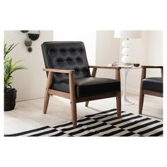 Sorrento Mid - Century Retro Modern Faux Leather Upholstered Wooden Lounge Chair - Black - Baxton Studio