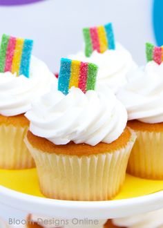 Rainbow Cupcakes with a surprise inside- great, simple dessert for Inside Out Movie Night, rainbow party or St. Patricks Day patricks day party outfit Inside Out Movie Night - Bloom Designs Baby First Birthday Cake, Trolls Birthday Party, Troll Party, Rainbow Birthday Party, Unicorn Birthday, Unicorn Party, First Birthday Parties, First Birthdays, Birthday Ideas