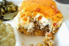 The John Wayne Casserole  generous 5″x4″x3″ block of layered biscuit mix, ground beef, creamy filling, jalapenos and cheddar cheese.