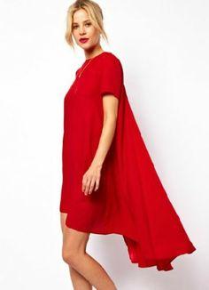 Vestido asimétrico mangas cortas-Rojo pictures