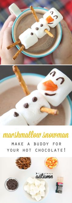 This is so awesome! How to make a snowman out of marshmallows to float in your hot chocolate. Fun winter craft activity for kids.