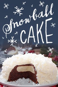 Perfect for dessert. Not so much for a snowball fight. Try our Snowball Cake. For my sweet, sweet sister-in-law Kathy! Christmas Desserts, Christmas Treats, Holiday Treats, Holiday Recipes, Holiday Baking, Christmas Baking, Snowball Cake Recipe, Just Desserts, Delicious Desserts