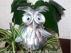 Como hacer un búho con latas de refrescos. DIY. Owl made with cans - YouTube