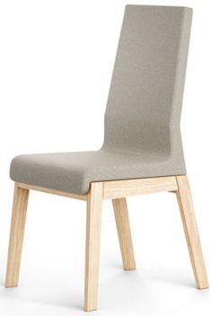 Nowoczesne krzesło KYLA XL:      Minimalistyczna lina ramy krzesła wykonanego z litego drewna dębowego. Wygodne siedzisko oraz oparcie tapicerowane trwałą i mocną tkaniną w kilku kolorach.