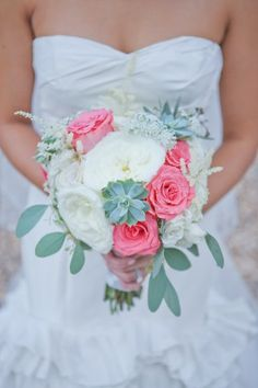 Elegant pink green and cream bouquet | photography by http://www.closertolovephotography.com/ and floral design by http://www.1703eventstudios.com/
