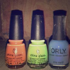 China Glaze and Orly nail polishes Orange China glaze-peachy keen yo.                      Green China glaze- the grass is like greener.        Blue Orly- snow cone.                                              Buy all together or if you just want one or two let me know ill make a post for them! China Glaze Other