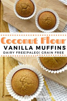 PALEO VANILLA CINNAMON MUFFINS - only makes 3 mufins.see if can expand recipe. brownies casserole chili coffee cookies guidelines instant pot kids lifestyle meatballs muffins salad side dishes smoothie tortillas vegan vs whole 30 Donut Muffins, Cinnamon Muffins, Paleo Dessert, Paleo Sweets, Keto Desserts, Morning Glory Muffins, Dairy Free Recipes, Whole Food Recipes, Snack Recipes