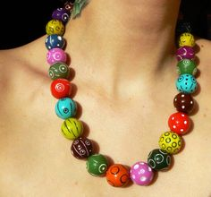 Colorful bright beaded necklace  summer jewelry  by AlexandraRed, $45.00