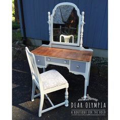 Taylor Hoffman on Instagram: I just finished up a cottage style makeover of this pretty lady. I used @cececaldwellspaints Vintage White and Seattle Mist, put new fabric on the chair and used @rusticbrands hardware that is available for sale at the booth. I'll be dropping the set off tomorrow at our room in @lighthouseantiques! #paintedfurniture #cececaldwellspaints #dearolympia #cottagestyle #shabbychic #paint #homedecor #furniture #rustic #tgif #love #VSCOcam Diy Furniture Renovation, Furniture Projects, Furniture Makeover, Blue Painted Furniture, Painted Vanity, Clay Paint, Farmhouse Furniture, Online Painting, Jouer