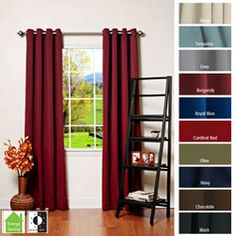@Overstock - These grommet top thermal insulated curtain panels feature a stylish and innovative construction. The panels are available in a variety of beautiful colors and drape naturally for a clean finished look.http://www.overstock.com/Home-Garden/Grommet-Top-Thermal-Insulated-95-inch-Blackout-Curtain-Panel-Pair/4359824/product.html?CID=214117 $73.99