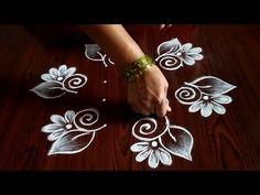 Rangoli Side Designs, Rangoli Designs Latest, Simple Rangoli Designs Images, Rangoli Patterns, Free Hand Rangoli Design, Small Rangoli Design, Rangoli Designs Diwali, Rangoli Designs With Dots, Rangoli With Dots