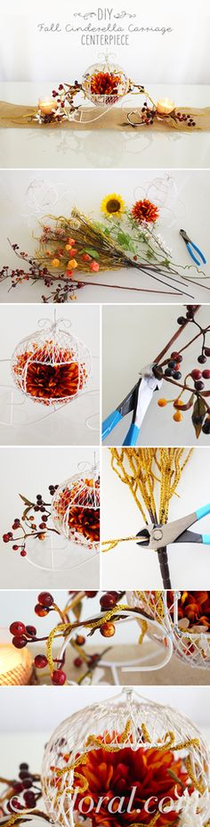 Create a enchanted tablescape at your fall fairytale wedding with this simple DIY.  Fill the Cinderella Carriage with your favorite fall silk flowers design the centerpiece you have been dreaming of.  Find everything you need at Afloral.com for your DIY fall wedding.