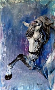 Beautiful horse art, painting of a white grey horse pawing the air. Watercolor Horse, Horse Artwork, Horse Drawings, Animal Paintings, Horse Paintings, Equine Art, Horse Pictures, Western Art, Painting & Drawing