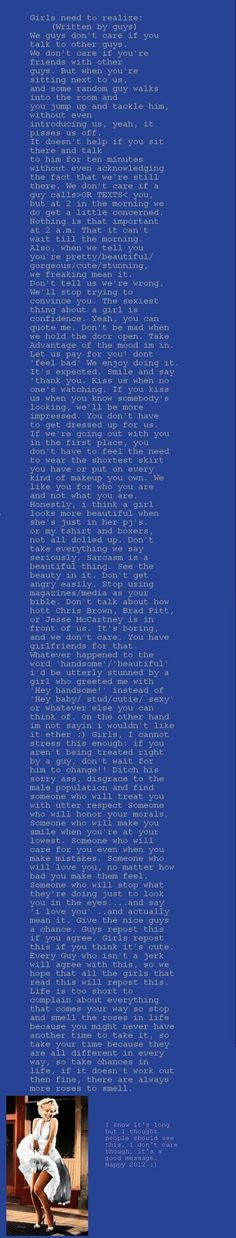 This is cute. A guy talking about what guys think about girls. :)