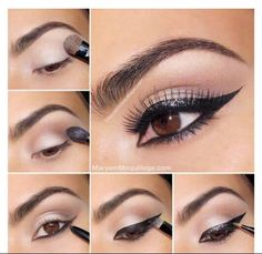 Natural nudes smokey eye with sparkly winged liner - nice