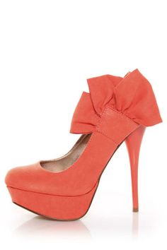 Qupid Neutral 212 Coral Suede Heel Flair Platform Pumps - $34.00