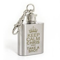 Keep Calm shot hipflask keyring