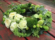 Green and white wreath. We can add some blush roses White Wreath, Floral Wreath, Funeral Flowers, Wedding Flowers, Funeral Tributes, Blush Roses, Sympathy Flowers, Easter Wreaths, Summer Wreath