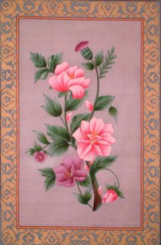 """""""Mughal Flower"""" ~ Water Color On Silk (with real gold work)."""