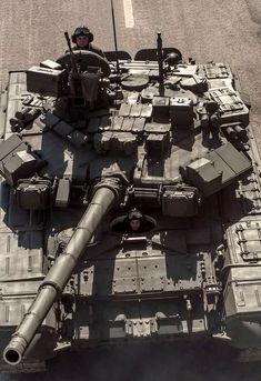 Top view of Russian T-90A main battle tank.