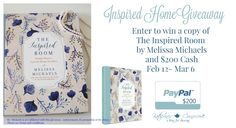 Inspired Home Giveaway- It's time for another fantastic giveaway!  This month's giveaway, the  Inspired Home Giveaway  is sponsored by Katherines Corner  ,  Simple Nature Decor  and some sweet bloggy friends.  One winner will receive a copy of the book The Inspired Room ( hard cover or kindle version)  and  $200 Cash ( via Paypal) Ms. Michaels is [read more...]
