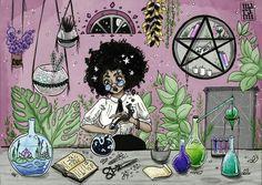 """maramiart: """"Inktober Day 4: Garden Witch!  """""""