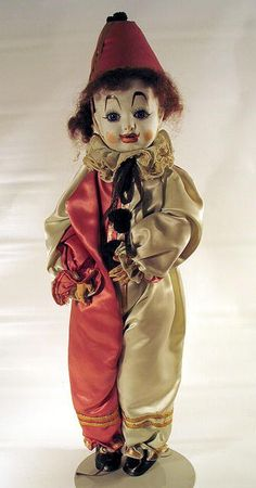 *FRENCH CLOWN DOLL ~ Incredibly rare antique clown doll w/ white bisque expressive face.  Could have been made by Bru, Jumeau or some other French doll maker. Original silk Clothes are sewn on + have not been removed. c. 1880.