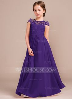 Bridesmaid Gowns A-Line/Princess Scoop Neck Floor-Length Zipper Up Covered Button Cap Straps Sleeveless No Blushing Pink General Chiffon Lace Junior Bridesmaid Dress - Beautiful Dresses, Nice Dresses, Girls Dresses, Flower Girl Dresses, Flower Girls, Pageant Dresses, Evening Dresses, Dress Anak, Moda Kids
