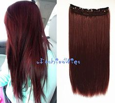 Dark Copper Red Solid Color Clips in Hair Extension, High Heat Resistant Hair extensions UF33 -- This is an Amazon Affiliate link. You can get additional details at the image link.