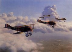 Equipped with the superb SPAD XIII, the 13th Aero Squadron of the American Army Air Service flies over France in 1917. By; Jim Laurier.