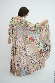 """Купить Лоскутное платье """"Рождение дня"""" - бежевый, цветочный, платье, платье летнее, лоскутное платье"""