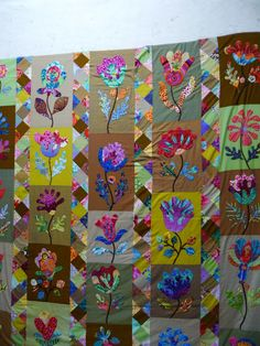 Kim McLean pattern - Flower Garden,  I like the way the change of background colour makes it look very different from the original.