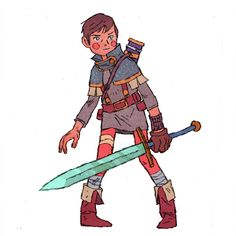 Dragon's Quest/Black Cauldron by *JakeWyatt on deviantART (drawing style) Fantasy Character Design, Character Creation, Character Drawing, Character Design Inspiration, Character Illustration, Game Character, Character Concept, Concept Art, Animation Character
