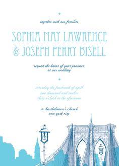 New York City Brooklyn Bridge Wedding Invitations