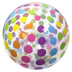 Add a nice splash of color with these New Deflated Size Beach Balls from Intex. These Jumbo Clear Beach Balls feature an array of colorful Dots along the panel lines