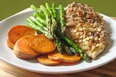 almond crusted chicken, asparagus, sweet potatoes