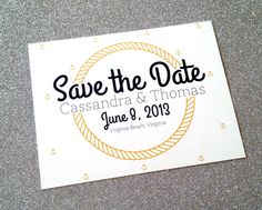 Nautical Save the Date Card - Customize it. $12.00, via Etsy.