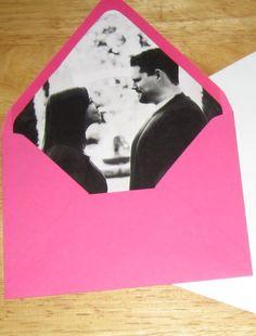 diy wedding invitation envelope photo insert... cute @nataliedonofro