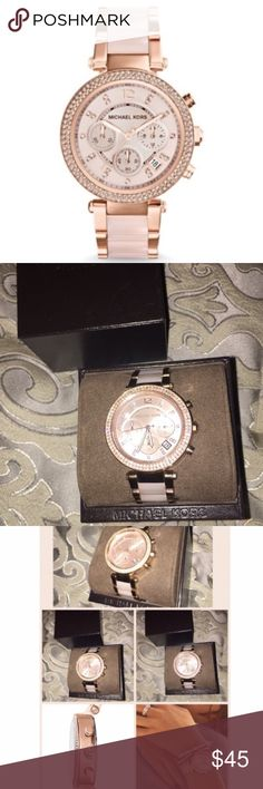 Michael Kors Watch Michael Kors rose gold watch, there is some wear as shown in pictures a few scratches on the back but overall it's a beauty in person and could hardly notice the flaws, perfect to glam up any look! Box included Michael Kors Jewelry