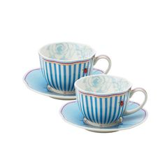 white and blue striped teacups