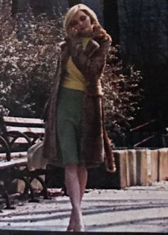 Sophie Dahl. Leopard Print Coat, yellow top, green skirt.