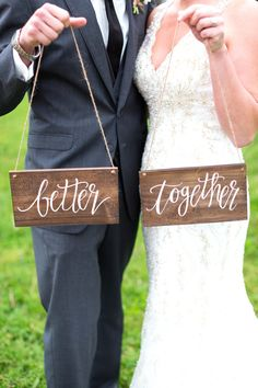 Better Together Chair Signs, Rustic Wooden Wedding Signs, Photo Prop Signs, The Paper Walrus by ThePaperWalrus on Etsy https://www.etsy.com/listing/239613191/better-together-chair-signs-rustic
