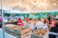 Backyard wedding catering / buffet with custom wooden chaffing dishes. Toronto ON catering.